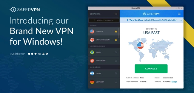 Appli SaferVPN VPN