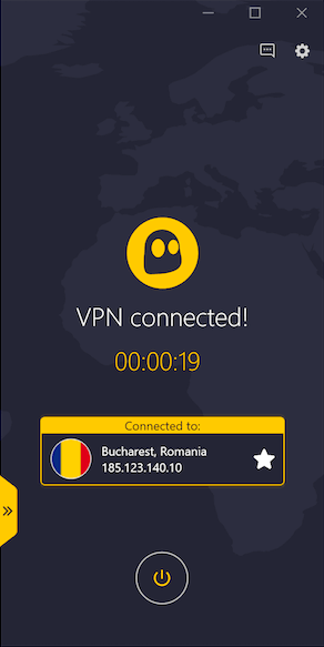Screenshot de l'application VPN CyberGhost