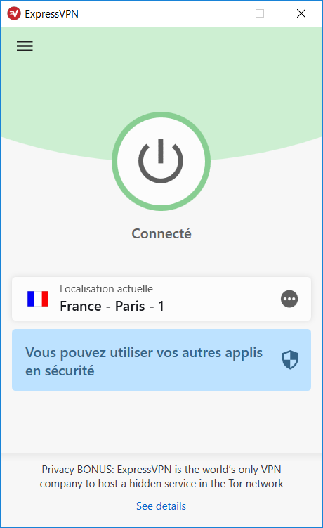 Screenshot de l'application VPN ExpressVPN